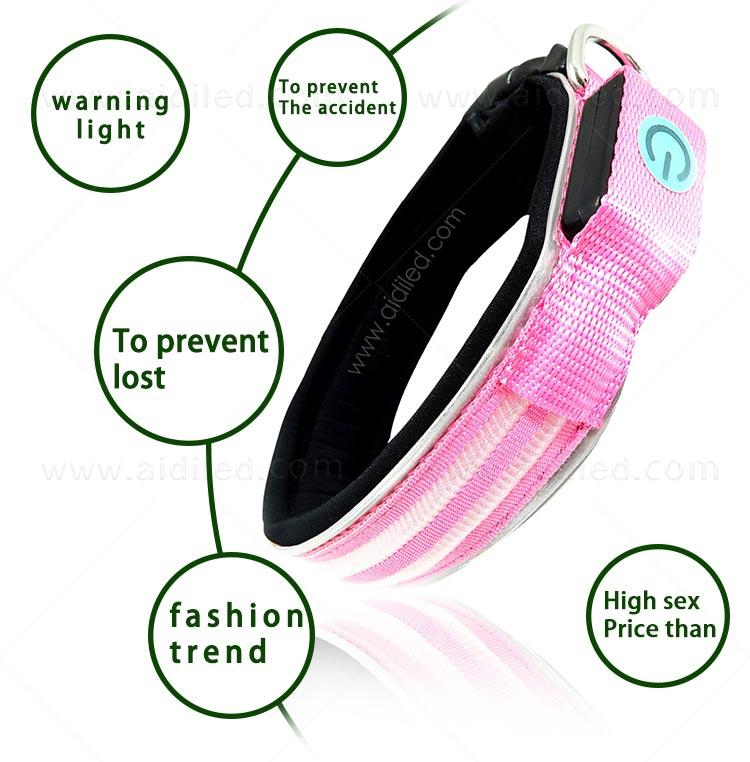 AIDI remote led flashing dog collar design for walking