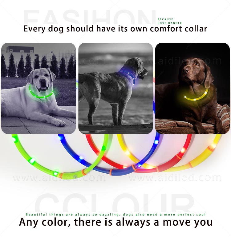 AIDI-High-quality Waterproof Light Up Dog Collar | Rechargeable Pet Collar-2