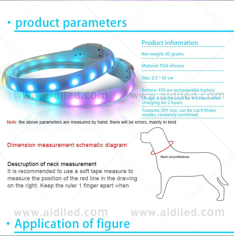 AIDI-Best Night Dog Collar Nylon Fish Filament Rechargeable-10