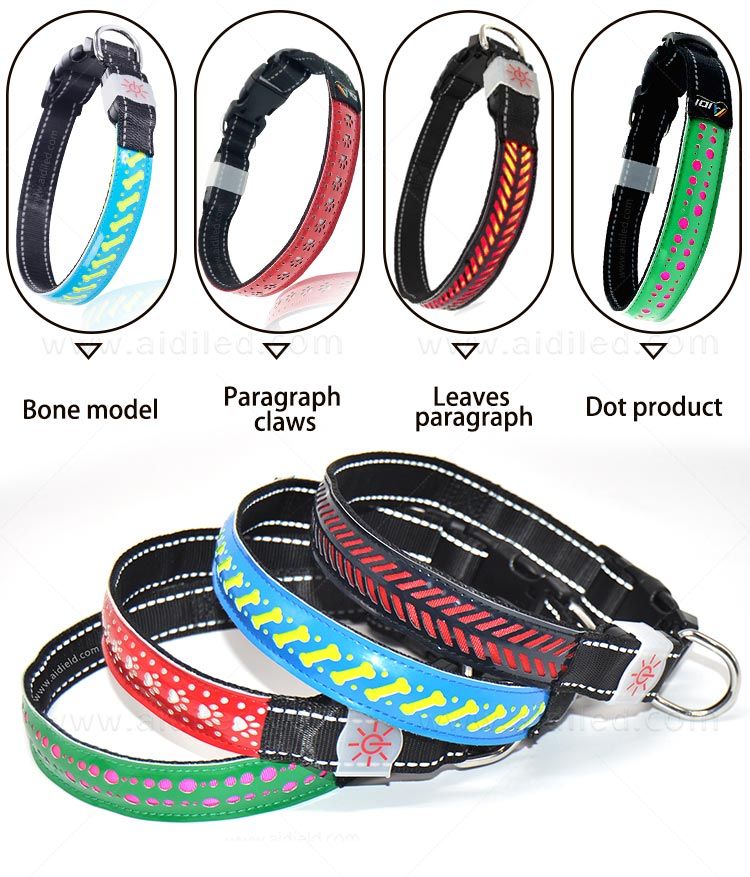 rechargeable led flashing dog collar design for park-4