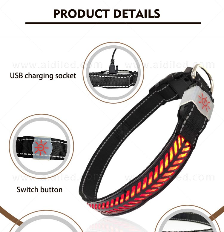 rechargeable led flashing dog collar design for park-5