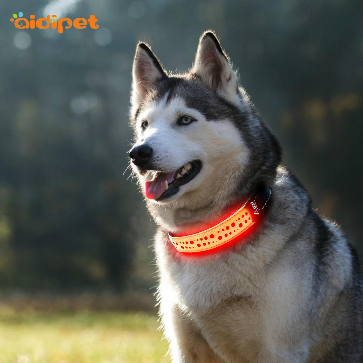 AIDI flashing led dog safety collar factory for pet