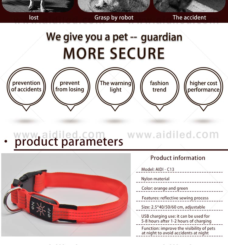 AIDI filament light up dog collar rechargeable factory for pet-4