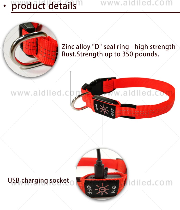 AIDI filament light up dog collar rechargeable factory for pet-5