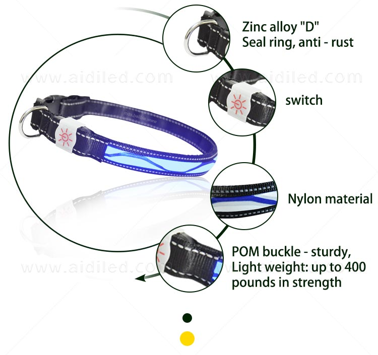 AIDI-Find Light Up Dog Collar Rechargeable Led Nylon Dog Collar-4