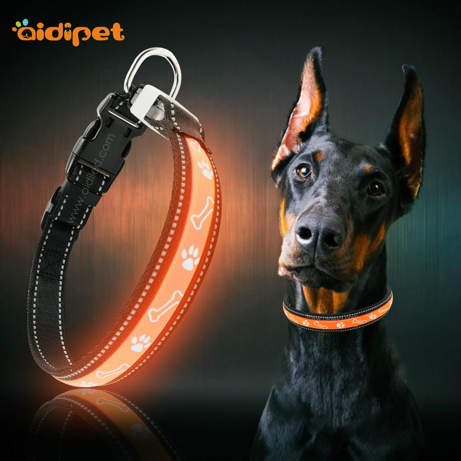 AIDI nylon waterproof light up dog collar factory for pet-2