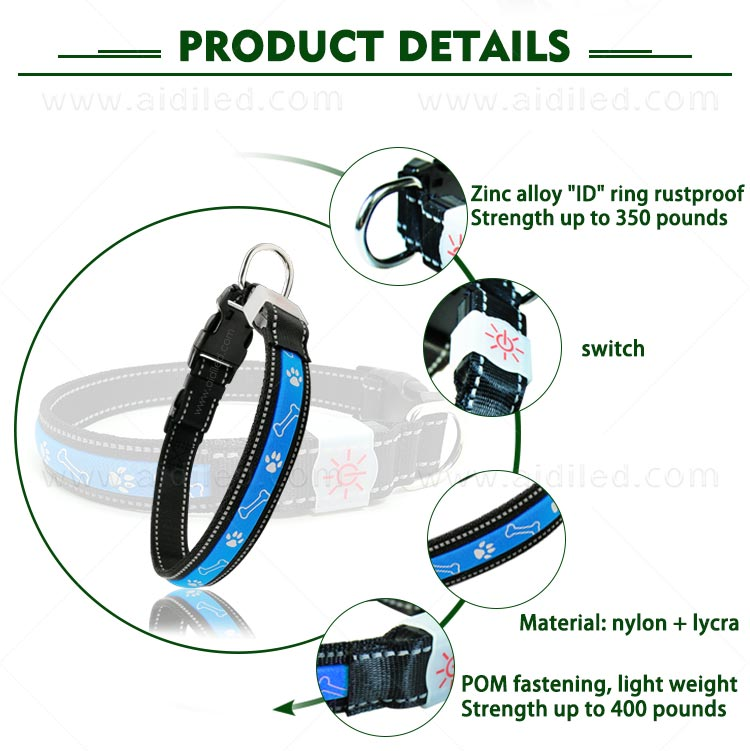 AIDI nylon waterproof light up dog collar factory for pet-5