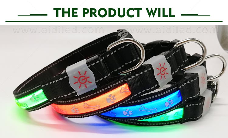 AIDI nylon waterproof light up dog collar factory for pet-6