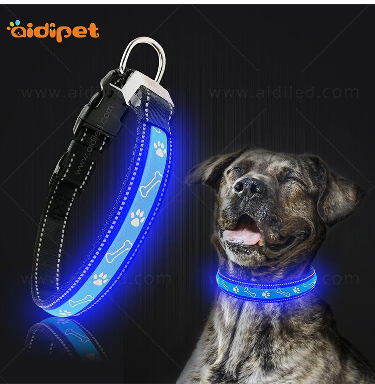 AIDI nylon waterproof light up dog collar factory for pet-9