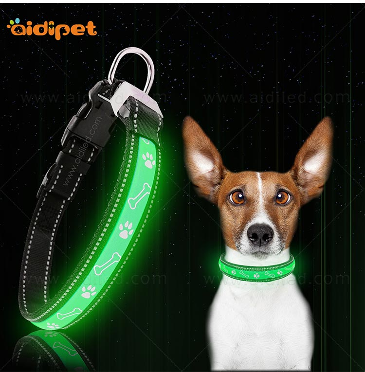 AIDI nylon waterproof light up dog collar factory for pet-8