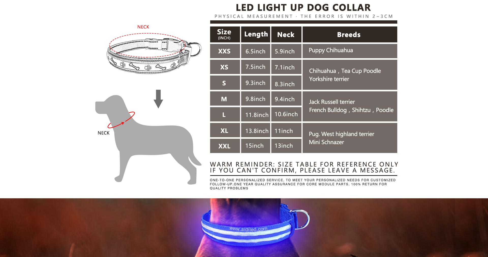 AIDI nylon waterproof light up dog collar factory for pet-11