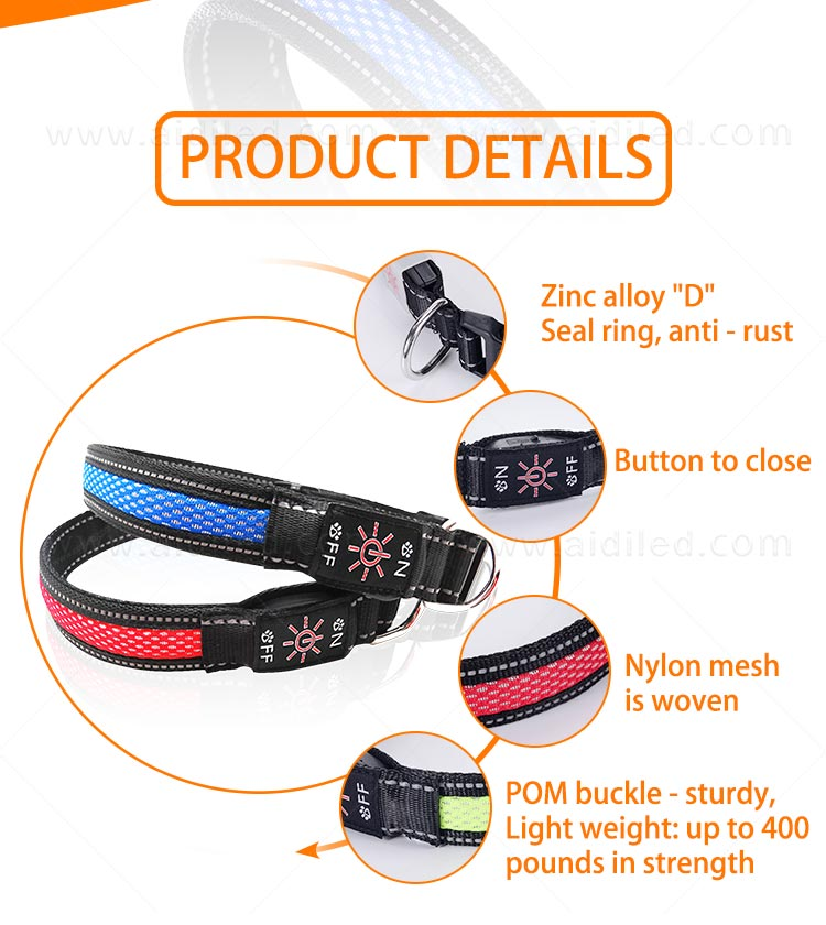 AIDI-Led Dog Collar Waterproof | Light Up Led Shining Dog Collar-7