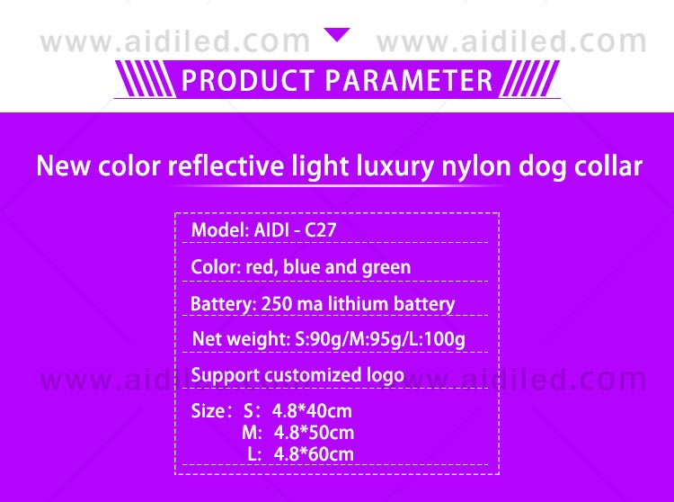 AIDI-C27 Colorful Dog Collar Led Flashing Light-6