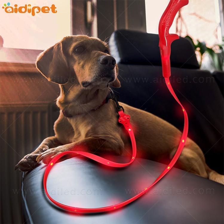 AIDI-Professional Illuminated Dog Leash Flat Led PVC Dot Light-1