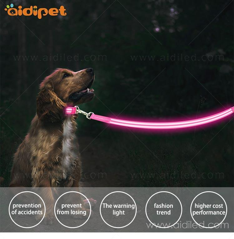 rechargeable light up dog leash with good price for pet