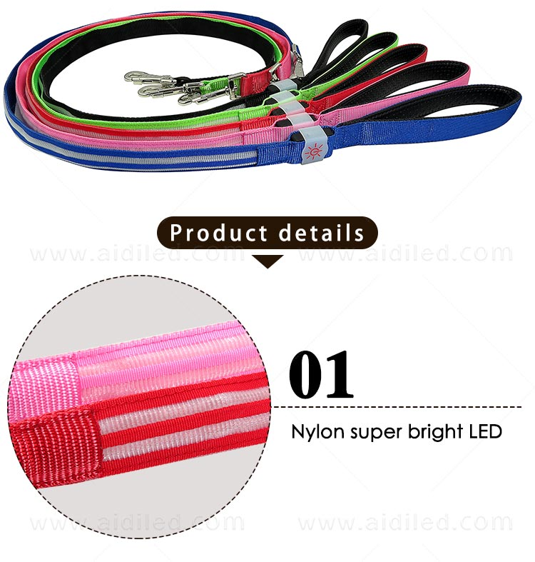rechargeable light up dog leash with good price for pet-5
