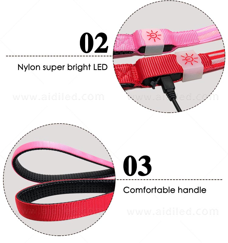 rechargeable light up dog leash with good price for pet-6