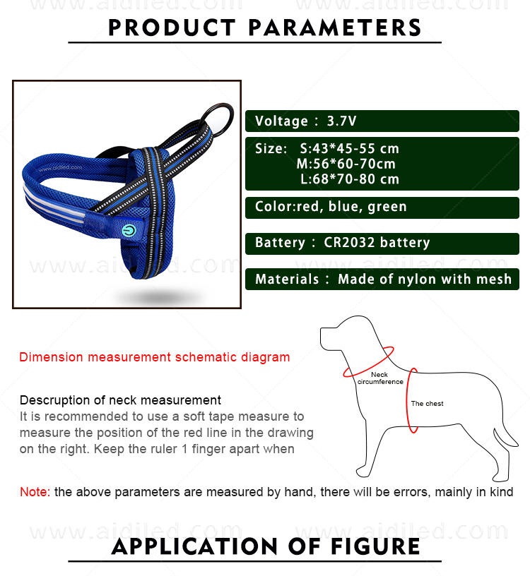 rechargeable glowing dog collar customized for pet