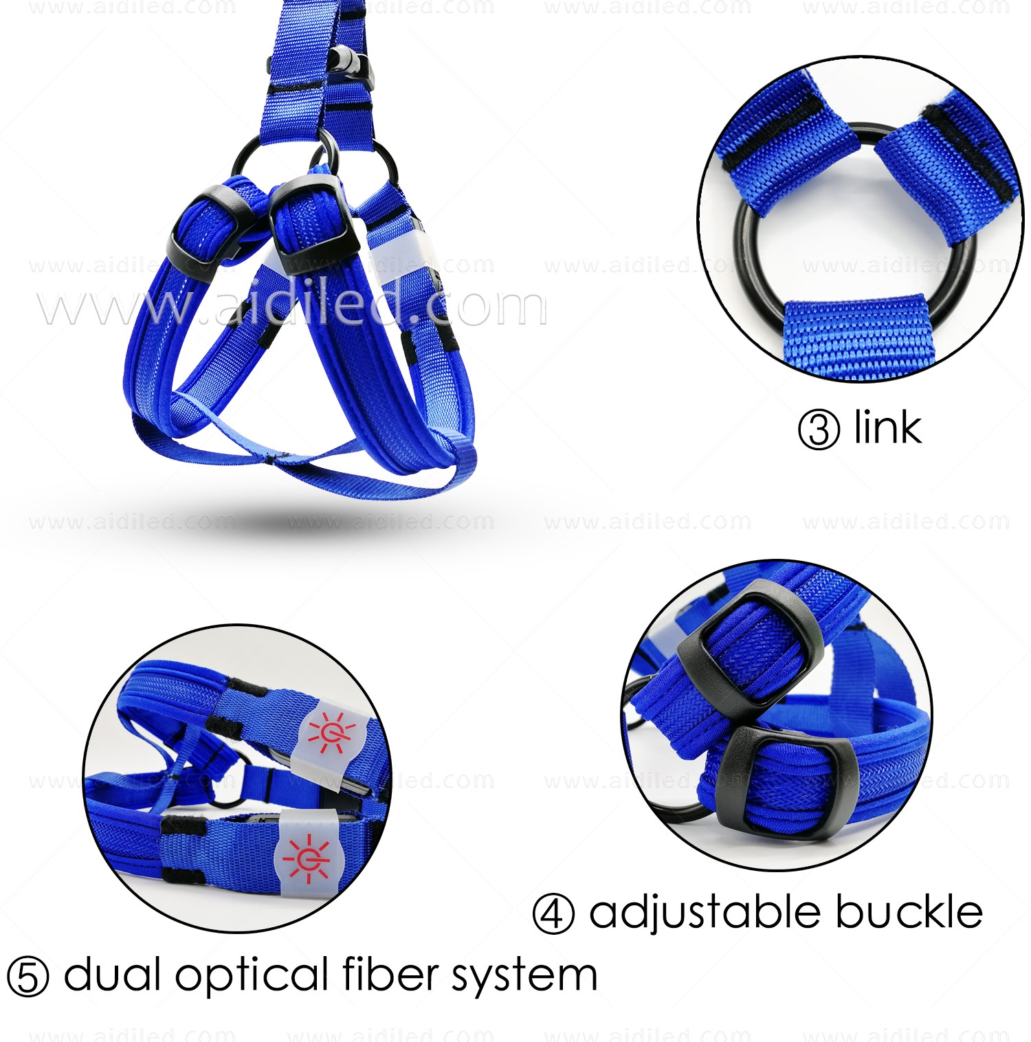 AIDI flashing led harness for small dogs for street-9