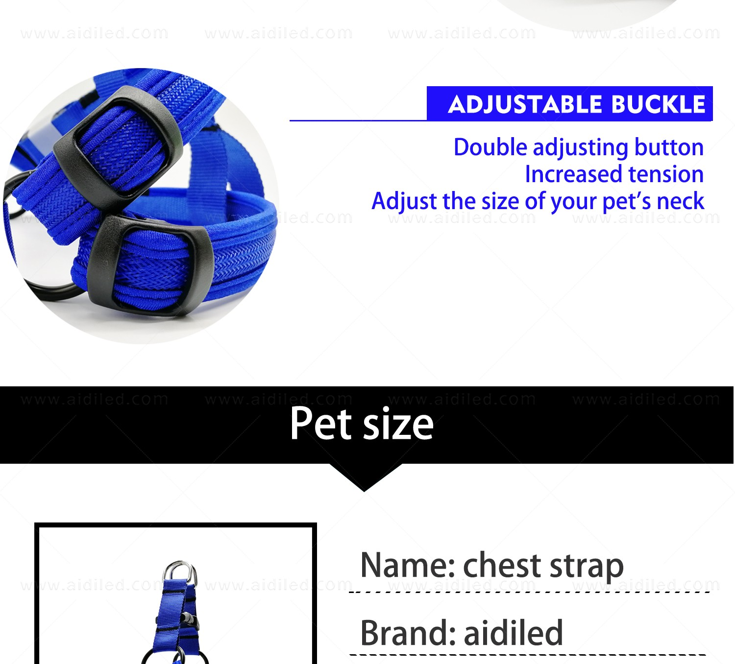 AIDI flashing led harness for small dogs for street-12