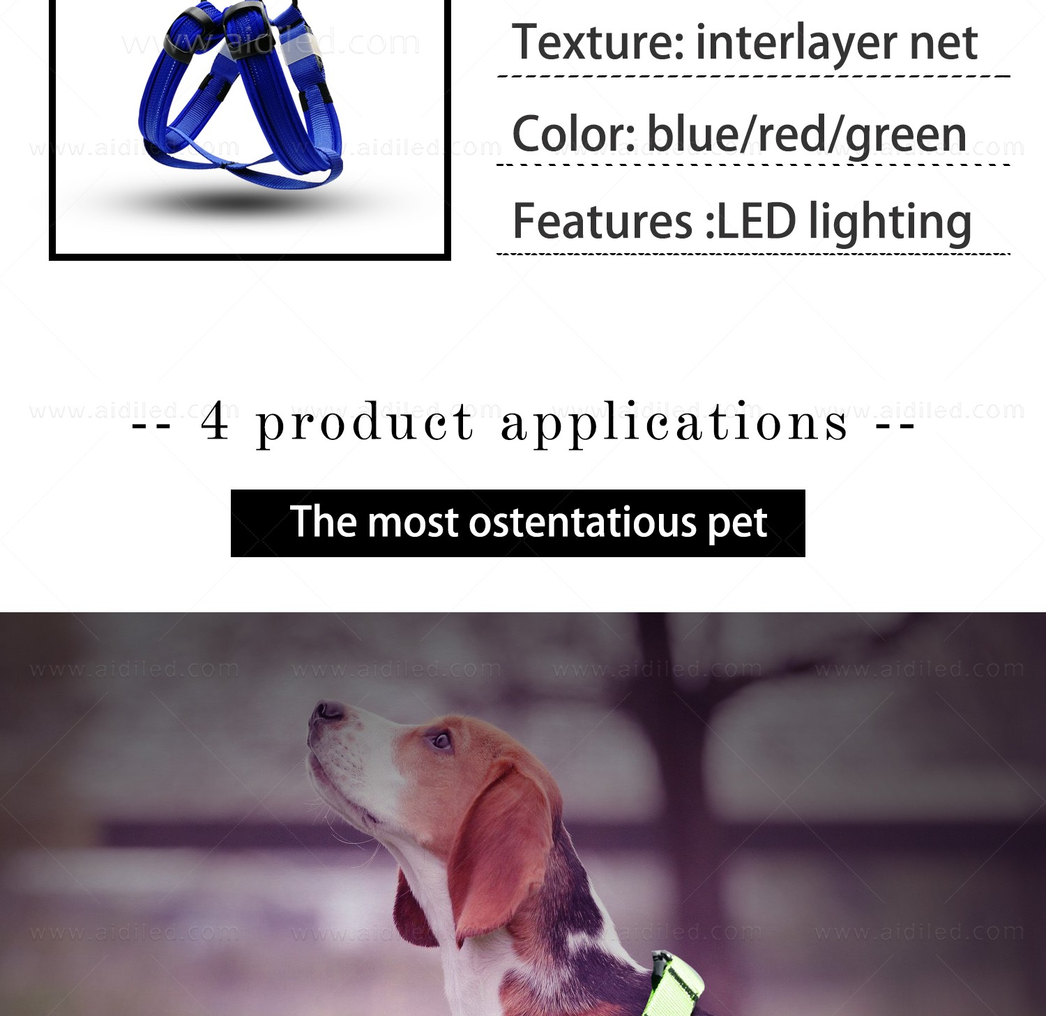 AIDI-Led Dog Harness | Colorful Soft Rechargeable Led Dog Harness-12
