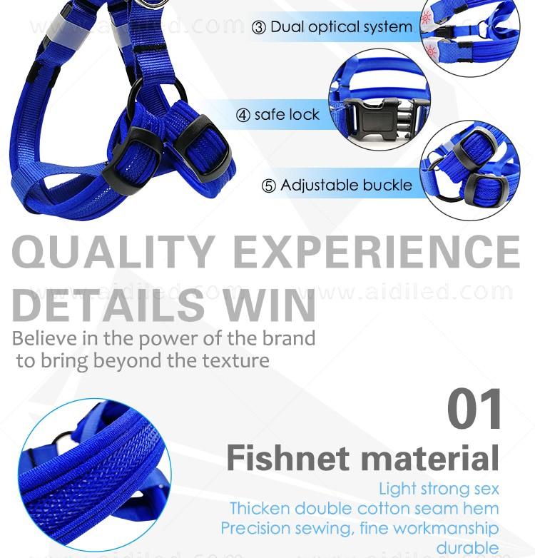 AIDI-Led Dog Harness, Reflective Rechargeable Flashing Led Dog Harness-7