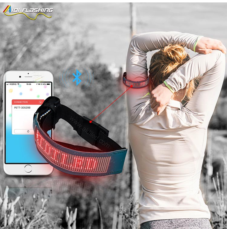 Led Screen Bluetooth Controlled Outdoor Sports Reflective Armbands AIDI-S20-9