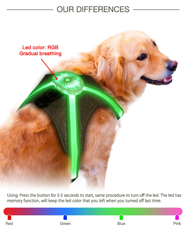 Hot sale led dog harness h7p newest model