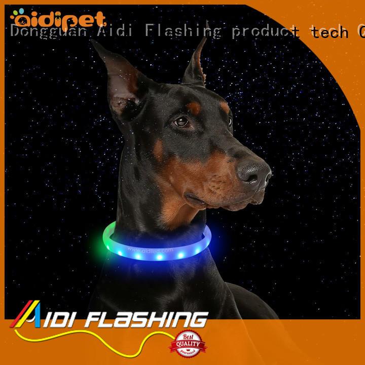 AIDI filament illuminated dog collar design for outdoors
