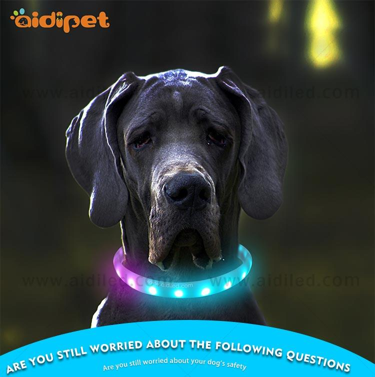 AIDI-Led Light Up Dog Collar, Fish Filament Rechargeable Led Dog Leash