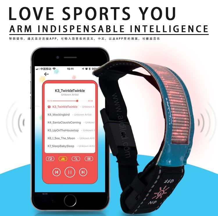 Led Screen Bluetooth Controlled Outdoor Sports Reflective Armbands AIDI-S20-1