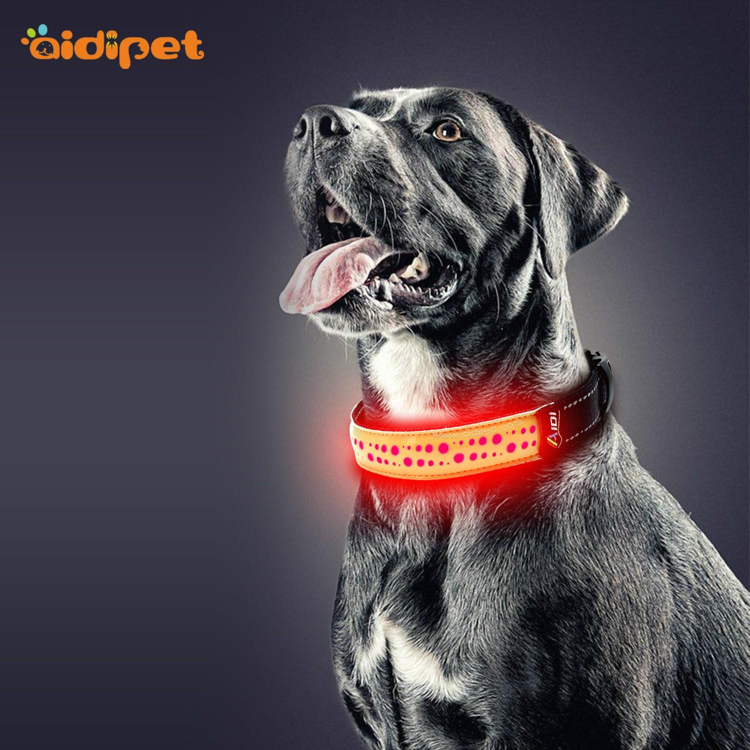 rechargeable led flashing dog collar design for park-2